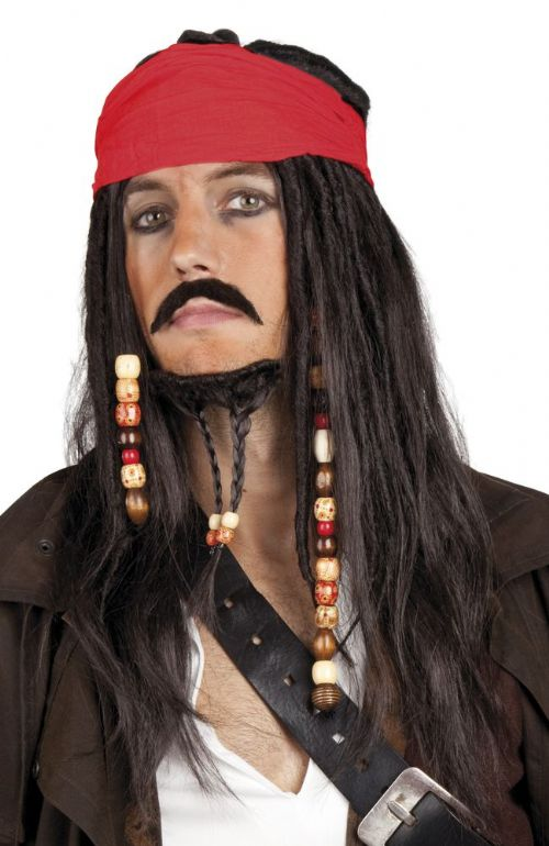 Adult Pirate Wig Bandana Tash & Beard for Pirates of the Caribbean Fancy Dress
